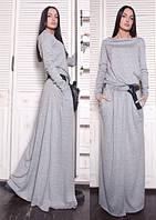 Платье  женское, светло-серое, осень-зима P-CRIS №37