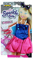 Набор одежды для куклы: сине-розовое коктейльное платье на бретельках и туфельки