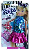 Набор одежды для куклы: бирюзово-розовая коктейльное платье и туфельки