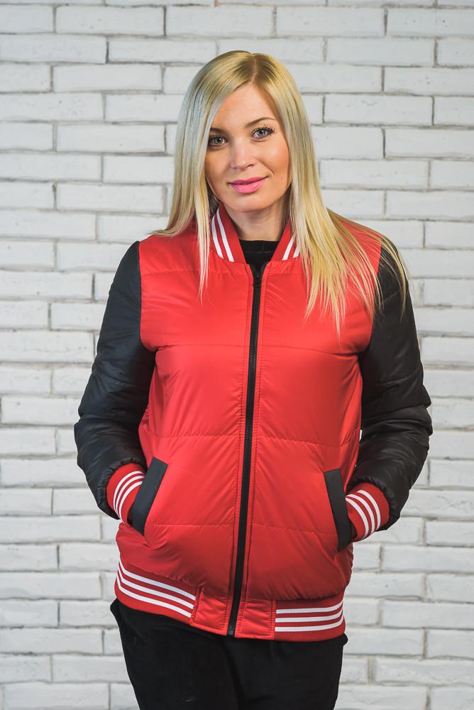 Куртка бомбер женская красн+т.сер
