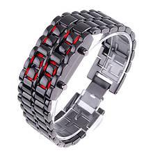 Часы-браслет Iron Samurai, Айрон Самурай черный с красными светодиодами
