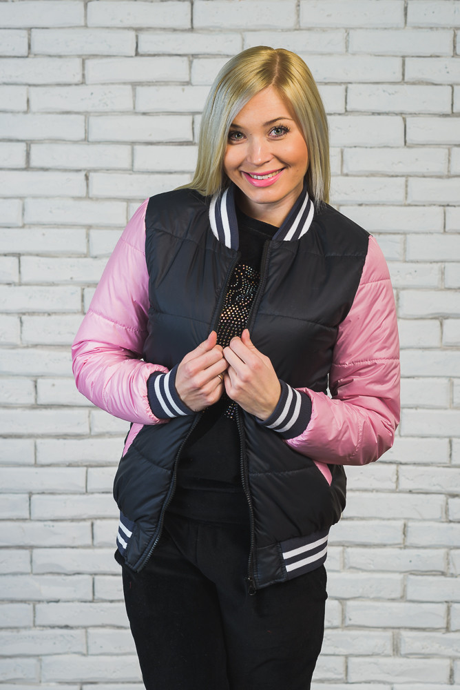 Куртка бомбер женская т.син+розовый
