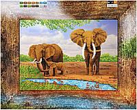 """Схема для вышивки бисером """"Слоны"""", на холсте А3"""