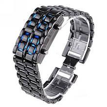 Часы-браслет Iron Samurai, Айрон Самурай черный с синими светодиодами