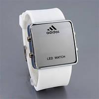 Зеркальные часы Adidas LED WATCH, Адидас Лед белые