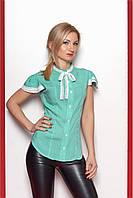 Женская рубашка из лёгкого штапеля мятного цвета