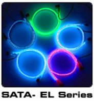 Кабель Thermaltake круглый SATA 50см m собственная белая LED подсветк