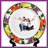Печать на тарелке фотографии логотипов поздравлений