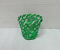 Стакан декоративный из соломы, зеленый, 7,5х8 см