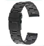 Браслет для часов из нержавеющей стали, литой, черный. 22-й размер., фото 1