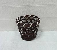 Стакан декоративный из соломы, коричневый, 7,5х8 см