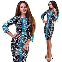 Модное мятное  принтованое трикотажное платье.  Арт-9786/83