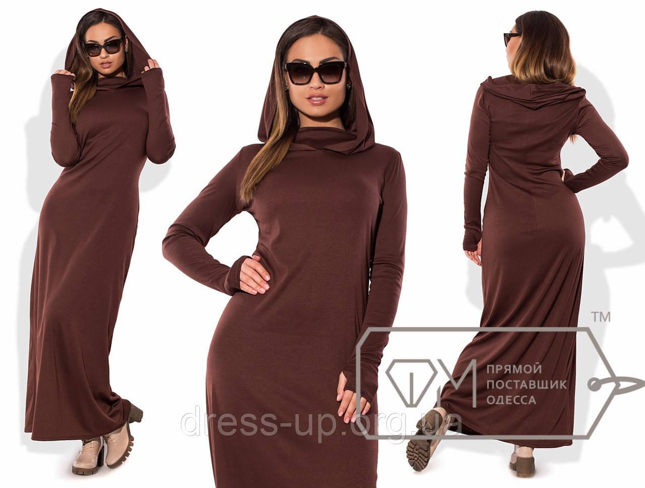 b661f169408 Купить Платье женское в пол коричневое с капюшоном VV -087 оптом и в ...