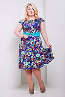 Нарядное летнее платье Мальвина синяя (пояс бирюза)
