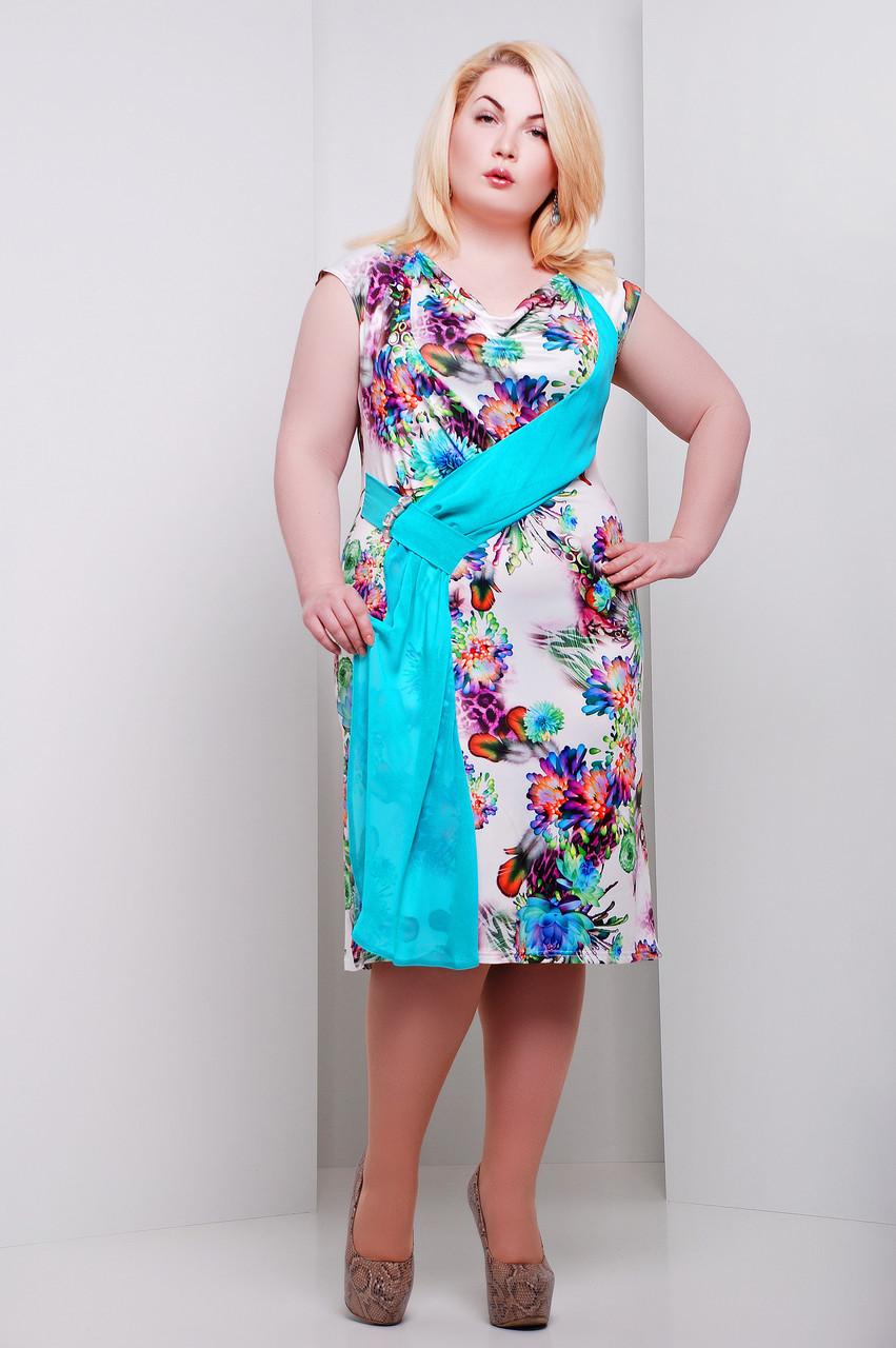 Платье большого размера Мирель бирюза