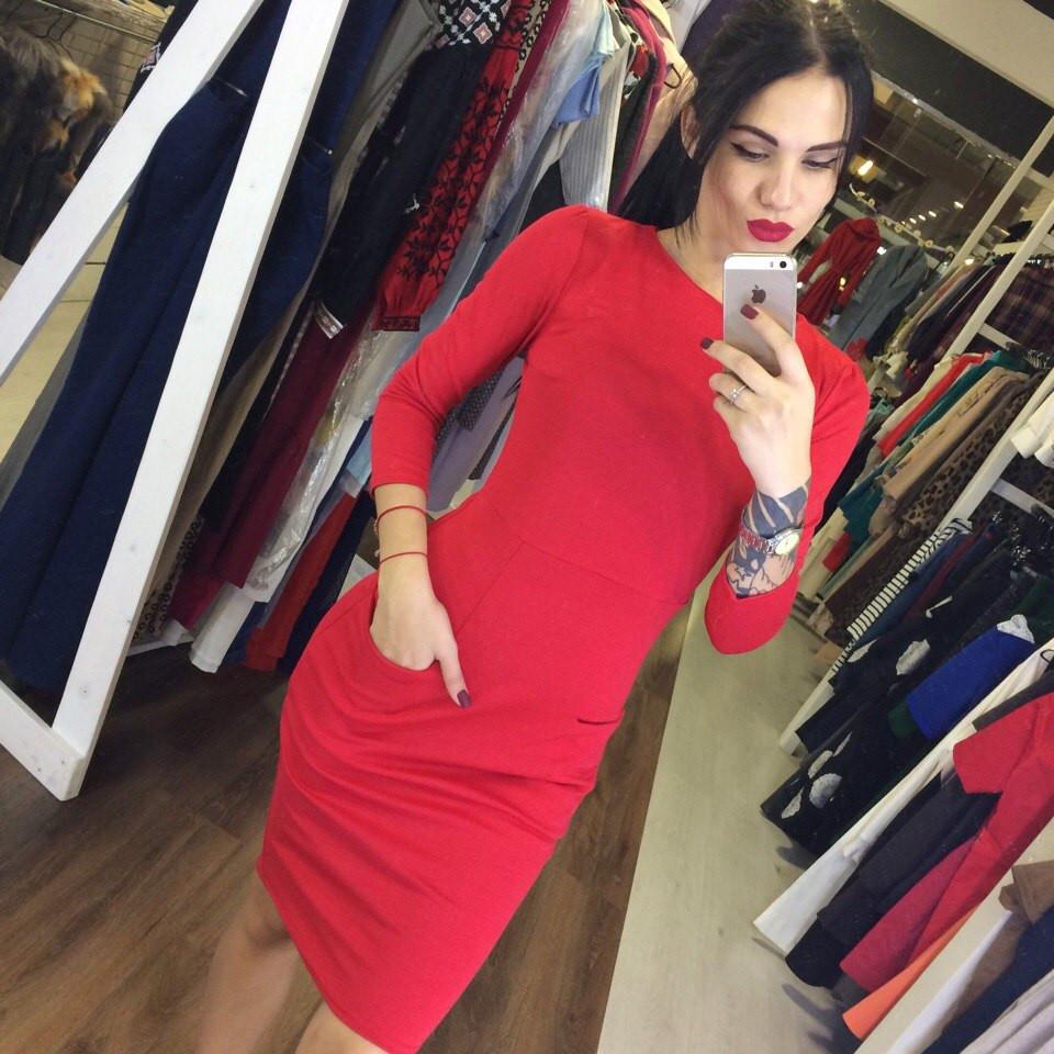 daa845f0473 Красивое красное стрейчевое платье с карманами