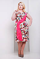 Платье большого размера Мирель розовая, фото 1