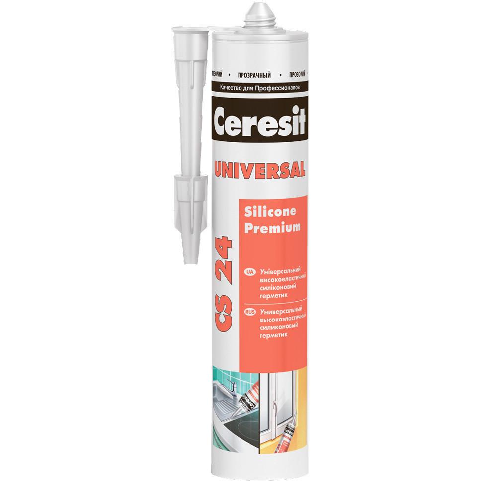 Герметик силиконовый эластичный универсальный Ceresit CS 24 (белый), 280 мл