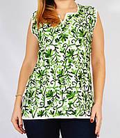 Блузка белая с зеленой вышивкой, 44-50 размеры