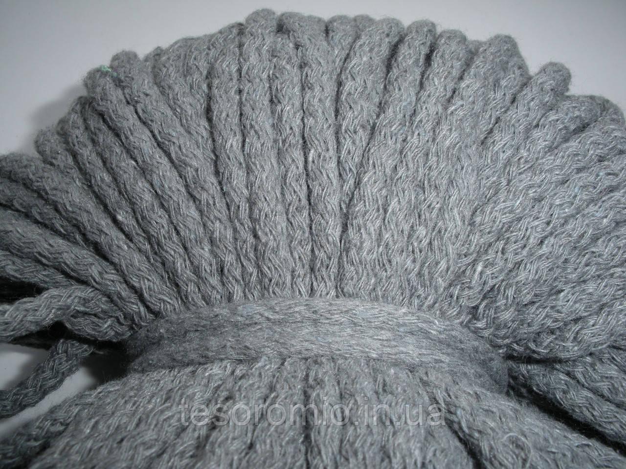 Шнур хлопковый 5мм диаметр серый