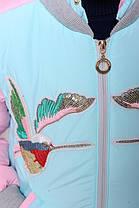 Демисезонная куртка для девочки «Птички», минт, фото 2