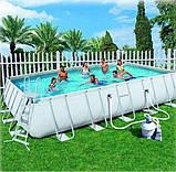 Каркасный прямоугольный бассейн BestWay 56257 (671x396x132 см) с песочным фильтром, фото 5