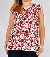 Блузка белая с бордовой вышивкой, 44-50 размеры