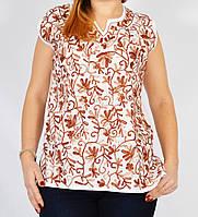 Блузка белая с коричневой вышивкой, 44-50 размеры