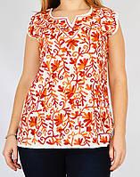 Блузка белая с красной вышивкой, 44-50 размеры, фото 1