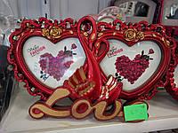 Рамка часы сердечко красный