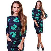 Красивое синее стрейчевое платье с зелеными бантами, с карманами, рукав три четверти.  Арт-9787/83