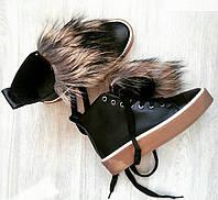 Ботинки-кеды  натуральный  замш/кожа  с мехом енота