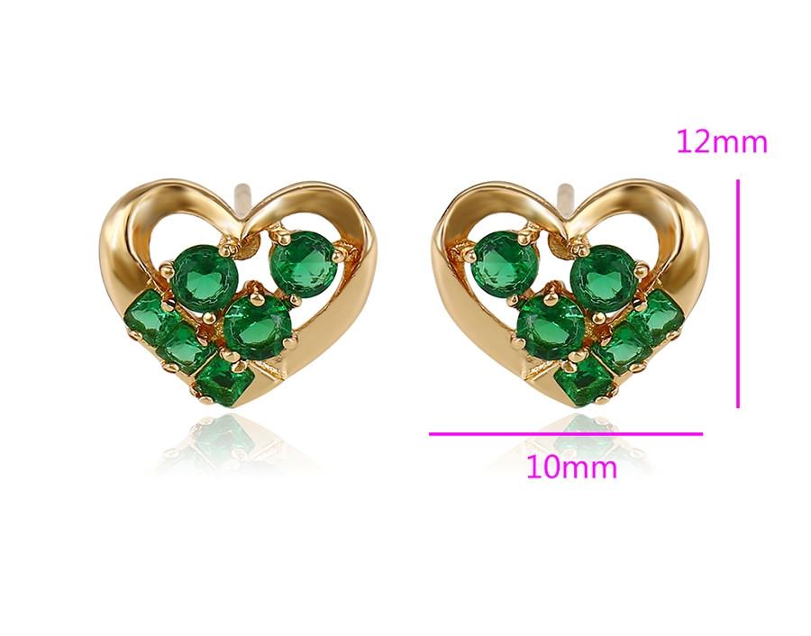 Серьги гвоздики, Сердце с зеленым цирконием, позолота