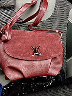 Стильная женская сумка LOUIS VUITTON материал эко-кожа и натуральная замша. Цвет марсала