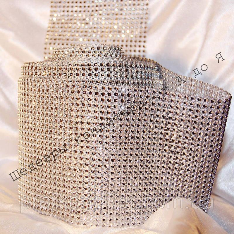 Лента декоративная серебро  12см