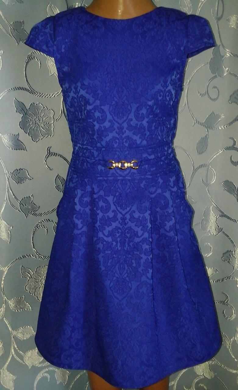 Святкова дитяча жаккардовасиня сукня, розмір_140