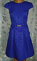Нарядное детское синее жаккардовое платье
