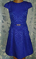 Святкова дитяча жаккардовасиня сукня, розмір_140, фото 1