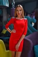 Красное  молодежное платье в обтяжку с камнями на плечах.  Арт-9788/83