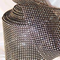 Лента декоративная серебро на черной основе 12см