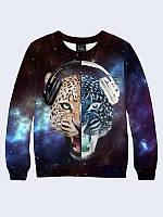 Женский свитшот Леопард в наушниках