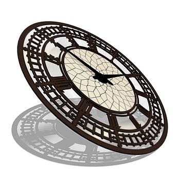 Часы настенные классические (45 см) темные [МДФ, Открытые]