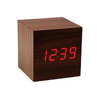 """Часы-будильник-термометр красные цифры """"Деревянный куб"""" 3 цвета корпуса"""