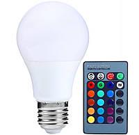 Лампа LED цветная RGB 5 Wt с пультом