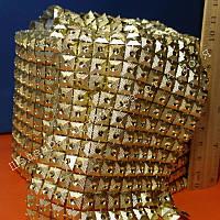 Лента декоративная Золото квадраты на золотой основе 2,5см