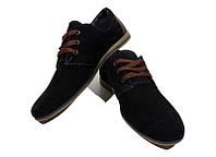 Мокасины подростковые натуральная кожа замш черные на шнуровке Braxton ZK 377