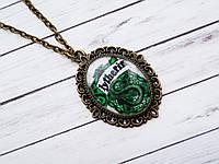 Кулон Значок Слизерин из Гарри Поттера, медальон на цепочке (бронзовый цвет, ручная работа)