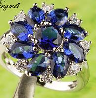 Серебряное кольцо  синий сапфир в виде цветка