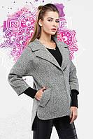 Модное шерстяное пальто рукав 3/4  свободного асиметричного кроя