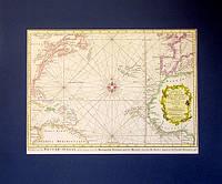 Старинная карта. Атлантический океан